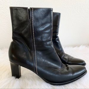 Franco Sarto Black Leather Heeled Ankle Boots